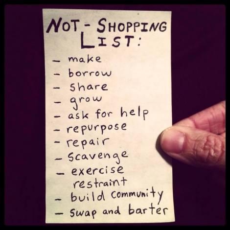 not shopping list